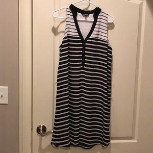 Express Black & White Stripe Shirt dress.